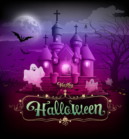 Happy halloween classic design on violet background Vector