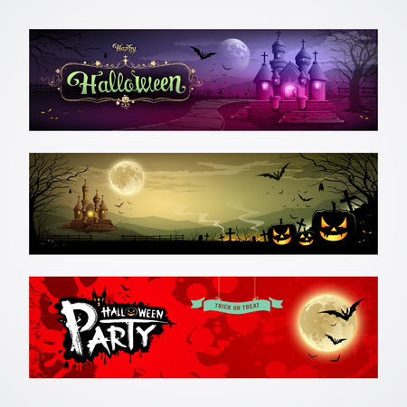 Happy Halloween collections banner design background Vector