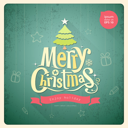 Merry Christmas lettering, Greeting card background Vector