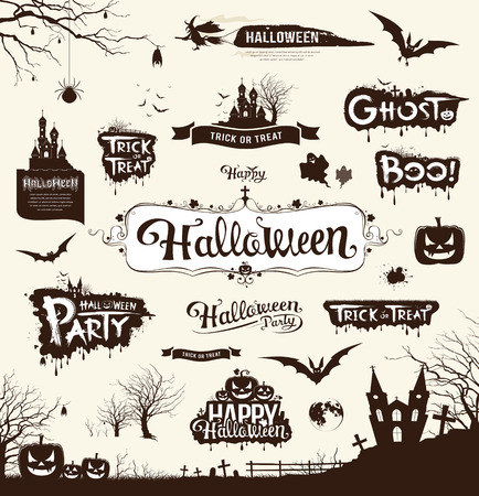 Happy Halloween day silhouette collections design Vector