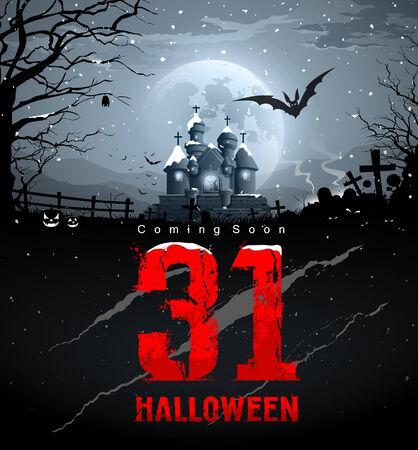 Happy halloween, coming soon, red message Vector
