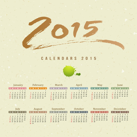 Calendar 2015, text paint brush on mulberry paper Vector