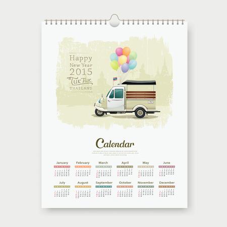 Calendar 2015, Vintage motor-tricycle Thailand. Vector