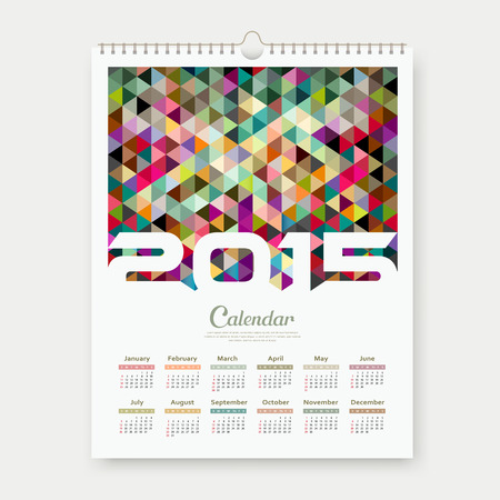 Calendar 2015, colorful triangle geometric template Vector