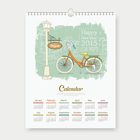 Calendar 2015, happy new year enjoy bicycle design Vector