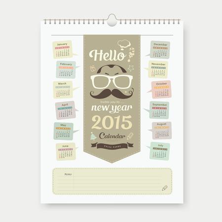 Calendar 2015, Happy Fathers Day sketch design Vector