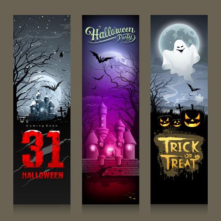 Happy Halloween collections banner vertical design Vector