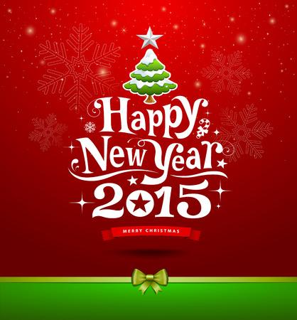 muerdago navideÃ?  Ã? Ã?±o: Feliz Año Nuevo, tarjeta de felicitación del diseño de las letras