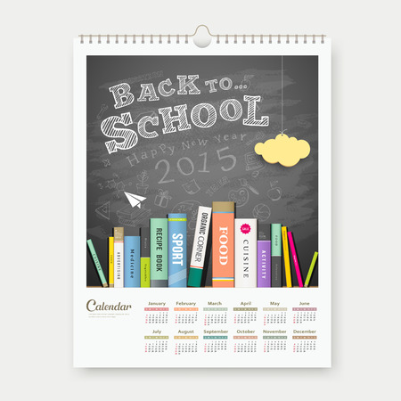 Calendar 2015 back to school with books concept design Vector
