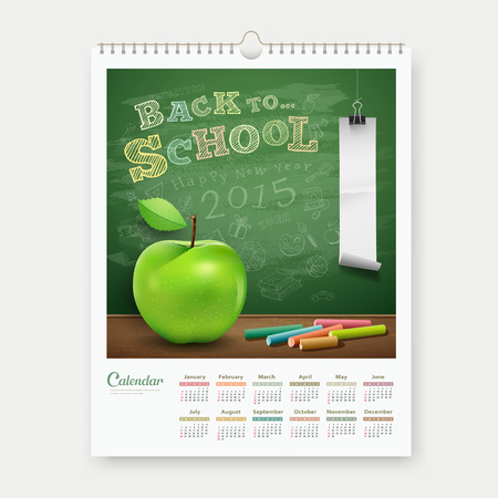 Calendar 2015 back to school concept design background Vector