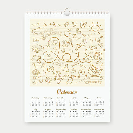 Calendar 2015 sketch back to school design background Vector