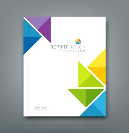 portadas: Cubra informe anual, dise�o origami de papel molino de viento colorido