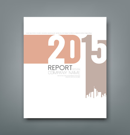 Cover Report number 2015 and silhouette building design Vector