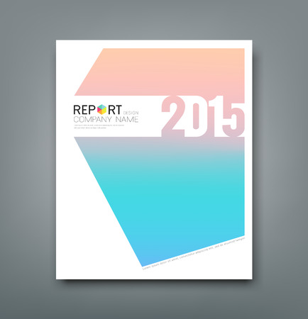 Cover Report 2015 number soft pink and blue background Vector