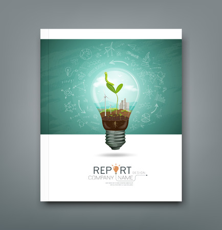 blue sky with clouds: Cover annual report green seedlings in light bulb ecology
