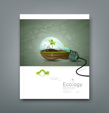 Cover annual report light bulb ecology design Vector