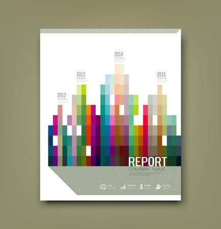 カバー レポート カラフルな幾何学的建物のパッテン統計の概念設計