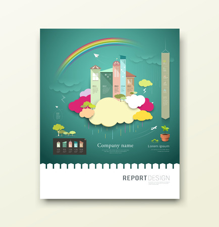 rainy season: Cover Report colorful paper house and clouds ecology concept design background Illustration