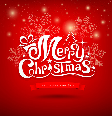 christmas red: Merry Christmas greeting card lettering design