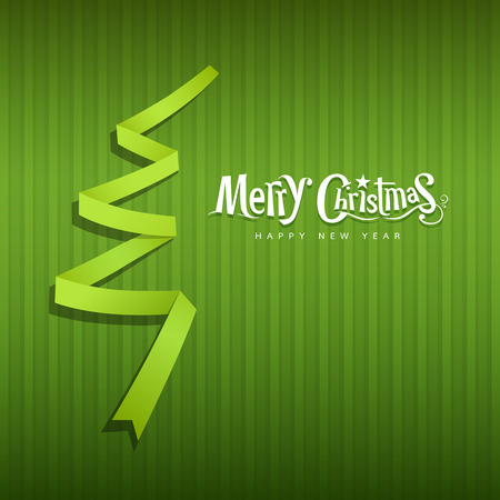 Merry Christmas origami green ribbons paper Vector
