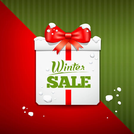 Merry Christmas gift box winter sale design Vector