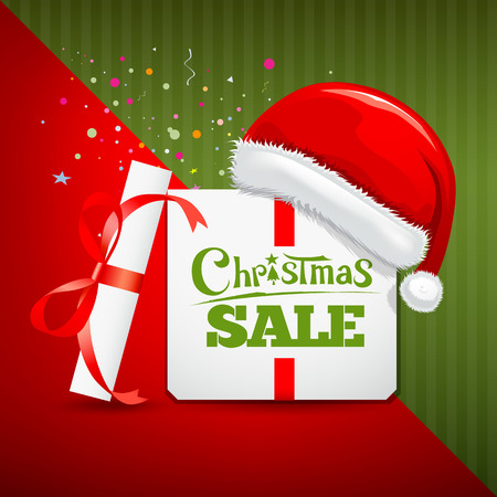 Merry Christmas gift box santa hat sale design Vector