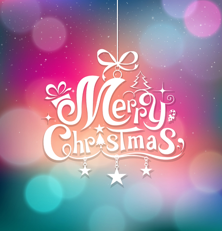 Merry Christmas greeting card lettering design background Vector