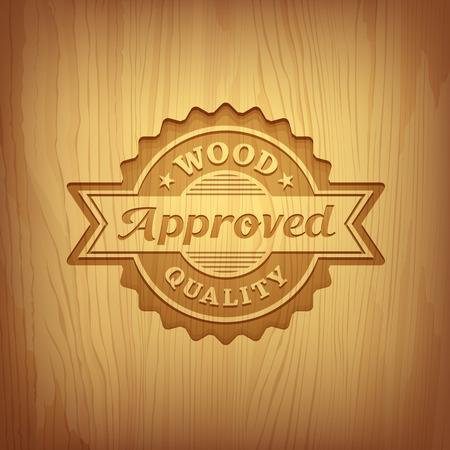Texto escultura em madeira projeto aprovado fundo, vector