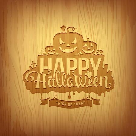 Wood carving happy halloween design, vector