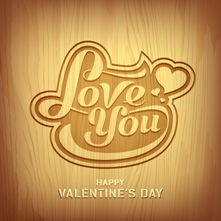 Wood carving text love you for valentine day design, vector