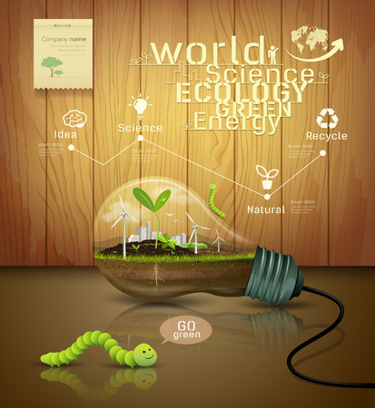 Light bulb ecology concept design on wood background Vector