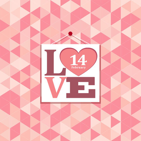 Happy valentines pink geometric greeting cards background Vector