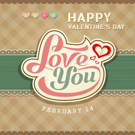Valentines day message love you banner Vector