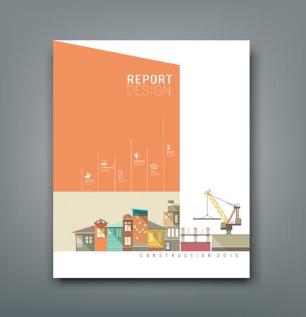 建築計画の年次報告書をカバー, ベクトル  イラスト・ベクター素材