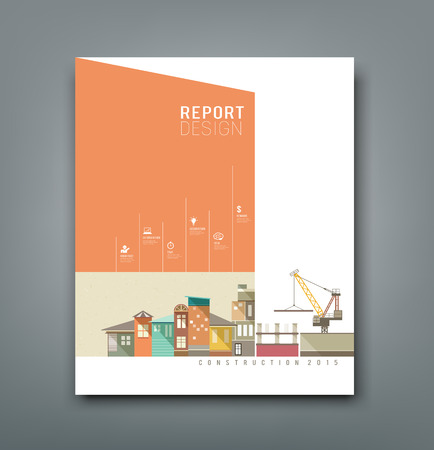 Cover Annual Reports building construction design, vector Illustration