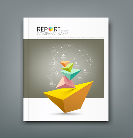 Cover Annual Report triangle connection head and business icons Vettoriali