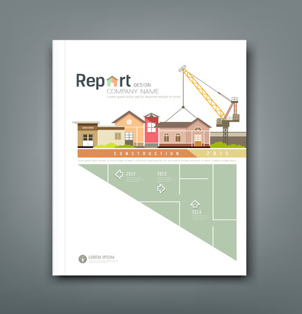 home construction: Cover Annual reports building constructions background design Illustration