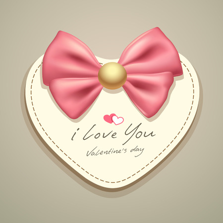 Valentines heart card pink ribbon Vector