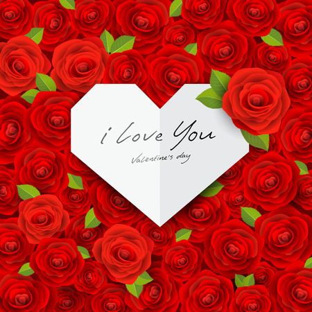 Happy Valentine on red rose background Vector