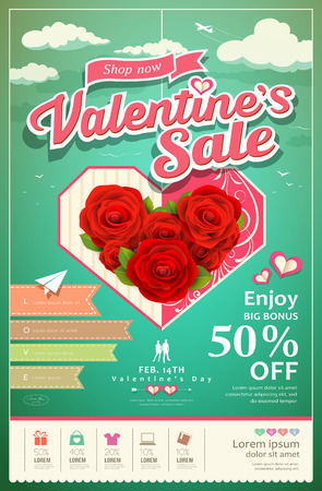 Promotion festival valentines day sale Vector