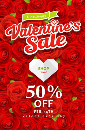 Happy Valentines day sale on red rose background Vector