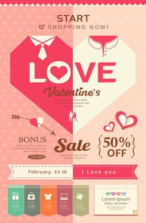 Happy Valentines day sale pink heart design Vector