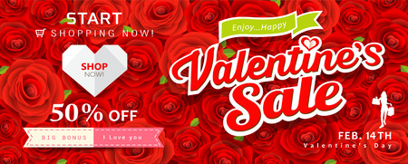anniversary sale: Happy Valentines day sale banner red rose background