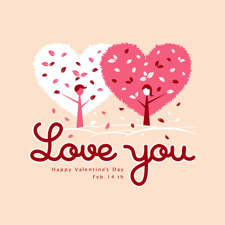 Valentines Day White and Pink heart leaf design background Vector