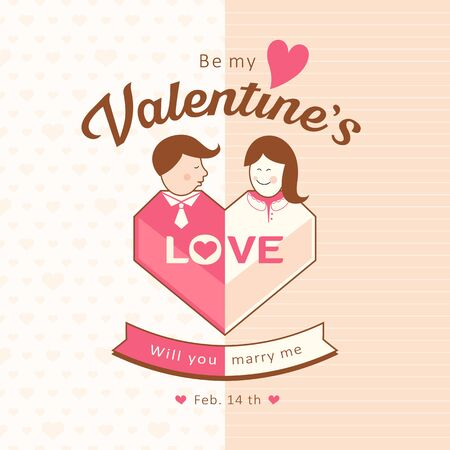 Happy Valentines day man and woman love hearts Vector