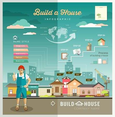 tower house: Building constructions your house engineering infographic design Illustration
