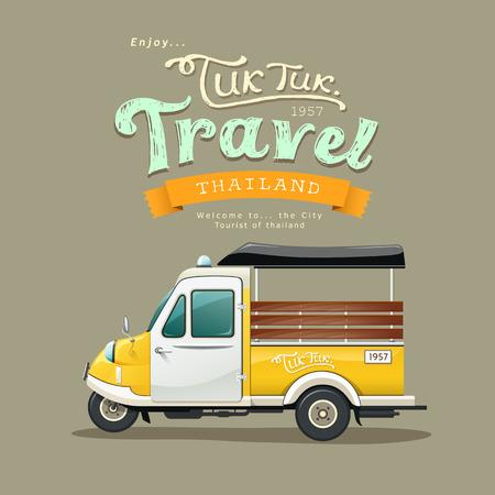 ヴィンテージ イエロー モーター三輪車 (トゥクトゥク) タイ  イラスト・ベクター素材