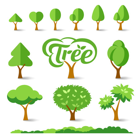Trees collections set design Vector