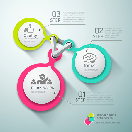Colorful Circle connection step infographics Vector