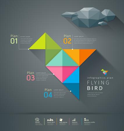 origami bird: Origami colorful paper flying bird infographics design
